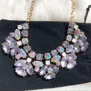Gorgeous reflective statement necklace rhinestones